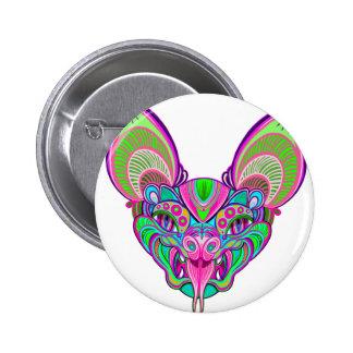 Psychedelische regenboogknuppel ronde button 5,7 cm