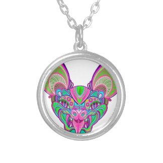 Psychedelische regenboogknuppel zilver vergulden ketting