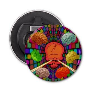Psychedelische schedel button flesopener