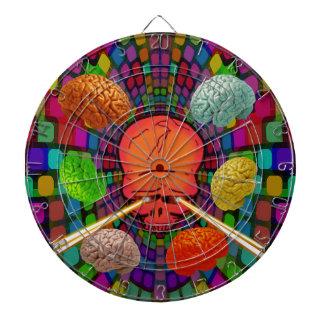 Psychedelische schedel dartbord