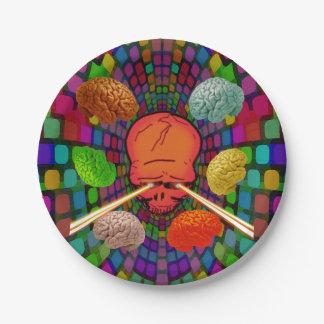 Psychedelische schedel papieren bordje