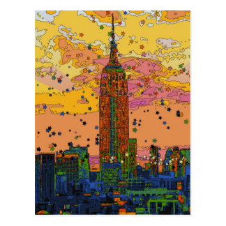 Psychedlic NYC: Empire State Building #1 Briefkaart