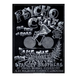 Psycho Cycli voor Weg of Weg - de Vintage Poster