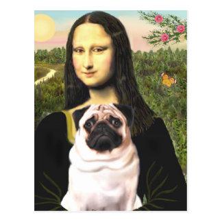 Pug 3 (fawn) - Mona Lisa Briefkaart