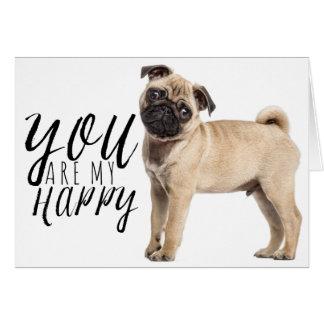 Pug de Hond van het Puppy - Liefde, Hello, het Briefkaarten 0