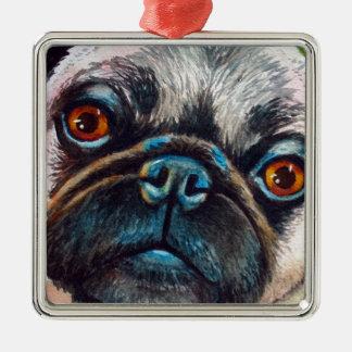 Pug Dichte omhooggaand van het Gezicht Zilverkleurig Vierkant Ornament