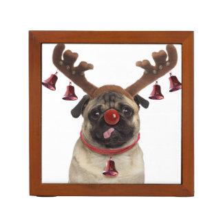 Pug geweitakken - Kerstmispug - vrolijke Kerstmis Pennenhouder