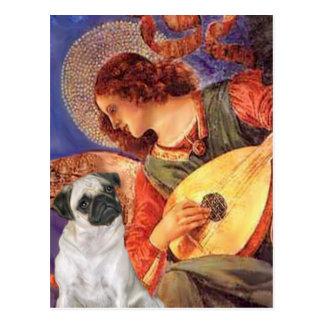 Pug H (Fawn) - de Engel van de Mandoline Briefkaart