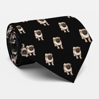 Pug het Patroon van het Puppy op Zwarte Club Stropdas
