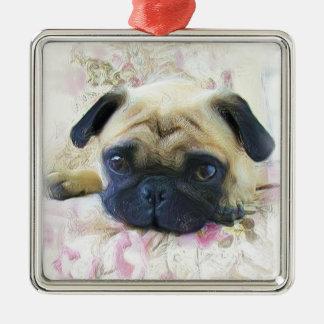 Pug hondornament zilverkleurig vierkant ornament