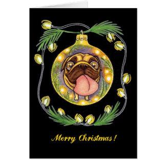 pug Kerstmisornament Briefkaarten 0