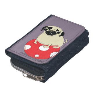 Pug portefeuille, cartoon op een denimportefeuille portemonnee