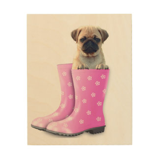 Pug Puppy Hout Prints