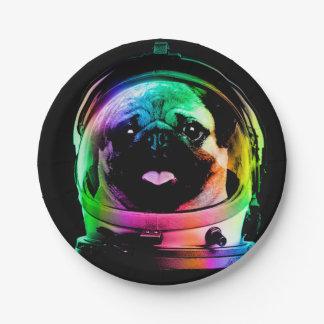 Pug van de astronaut - melkwegpug - pug ruimte - papieren bordje