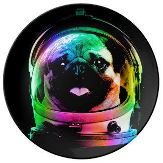 Pug van de astronaut - melkwegpug - pug ruimte - porseleinen bord