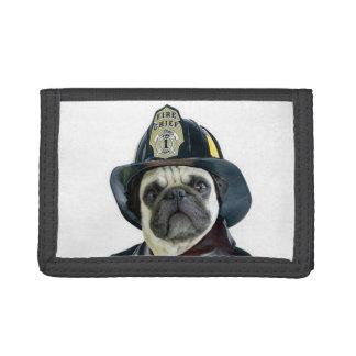 Pug van de brandweerman hond drievoud portemonnee
