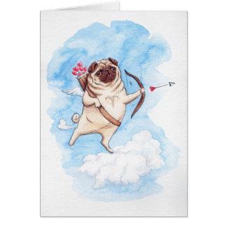 Pug van de Cupido valentijnskaart Briefkaarten 0