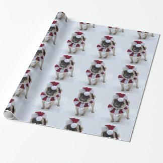 Pug van de kerstman inpakpapier