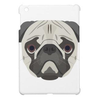 Pug van het de hondengezicht van de illustratie iPad mini cases