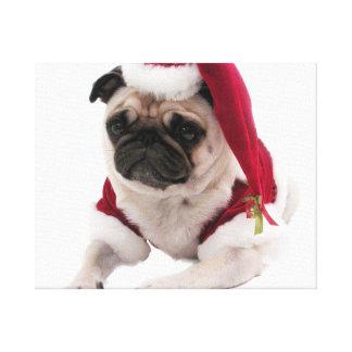 Pug van Kerstmis - de hond van de Kerstman - hond Canvas Afdrukken