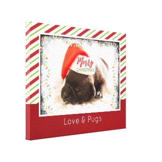 Pug van Kerstmis in het Pet van de Kerstman met de Canvas Afdrukken