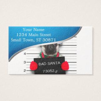 Pug van Kerstmis - mugshot hond - santapug Visitekaartjes