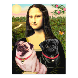 Pugs (Fawn + Blk) - Mona Lisa Briefkaart