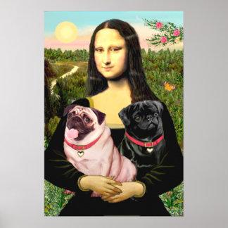 Pugs (Fawn + Zwart) - Mona Lisa Poster