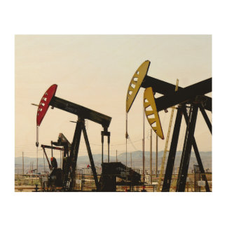Pumpjacks in Taft Californië Hout Afdruk