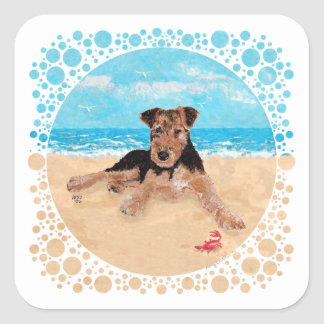 Puppy bij het Strand Vierkante Sticker