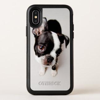 Puppy. van Edison Boston Terrier OtterBox Symmetry iPhone X Hoesje
