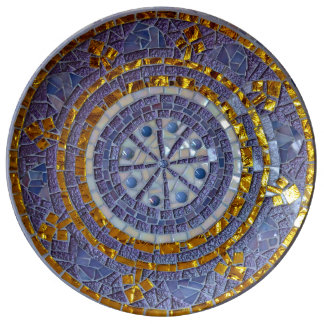 Purple and gold mosaic plate porseleinen bord