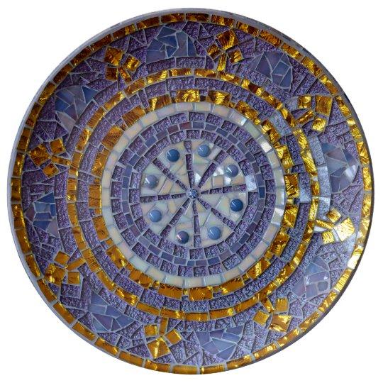 Purple and gold mosaic plate porseleinen bord