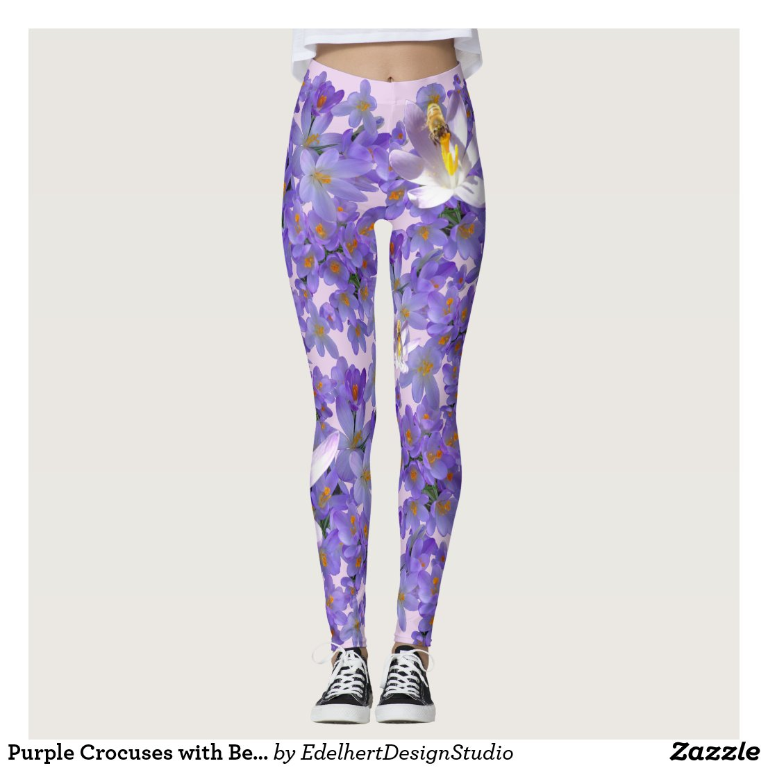 Purple Crocuses with Bees Legging