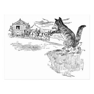Puss in Laarzen markeert onderaan een Vervoer Briefkaart