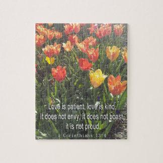 Puzzel - de foto van Tulpen met het Vers van de Puzzel