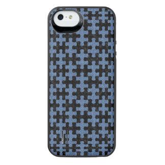 PUZZLE1 ZWART MARMEREN & BLAUW DENIM iPhone SE/5/5s BATTERIJ HOESJE