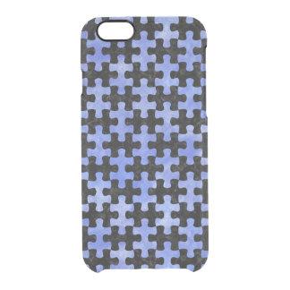 PUZZLE1 ZWARTE MARMEREN & BLAUWE WATERVERF DOORZICHTIG iPhone 6/6S HOESJE