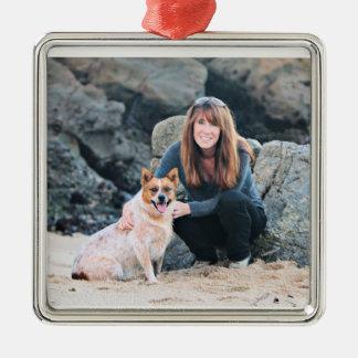Queensland Rode Heeler - Lucy Zilverkleurig Vierkant Ornament
