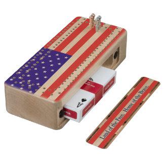 Raad van de Cribbage van de Vlag van de V.S. de Esdoorn Cribbagebord