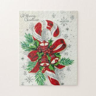 Raadsel van het het snoepriet van vintage Kerstmis Legpuzzel