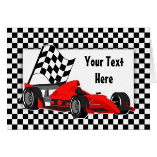 Raceauto en de Geruite Kaart van de Vlag