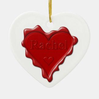 Rachel. De rode verbinding van de hartwas met naam Keramisch Hart Ornament