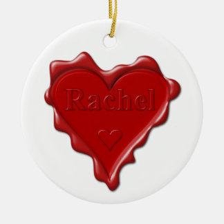 Rachel. De rode verbinding van de hartwas met naam Rond Keramisch Ornament