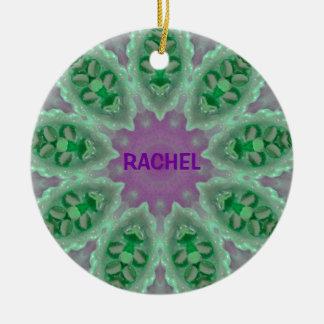 RACHEL ~ personaliseerde Lichtgevende Fractal ~ Rond Keramisch Ornament