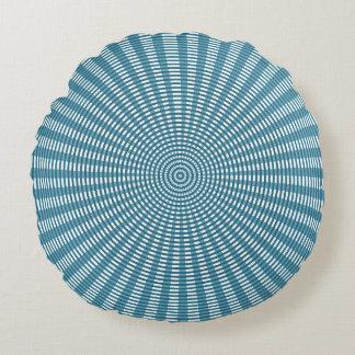 Radiaal Cirkel Wevend Patroon - Blauw Rond Kussen