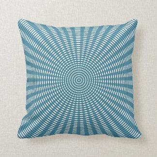 Radiaal Cirkel Wevend Patroon - Blauw Sierkussen