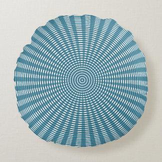 Radiaal Cirkel Wevend Patroon - Blauw/Zilver Rond Kussen