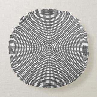 Radiaal Cirkel Wevend Patroon - Zilver Rond Kussen