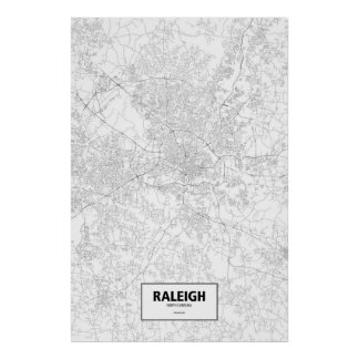Raleigh, Zwart Noord-Carolina (op wit) Poster